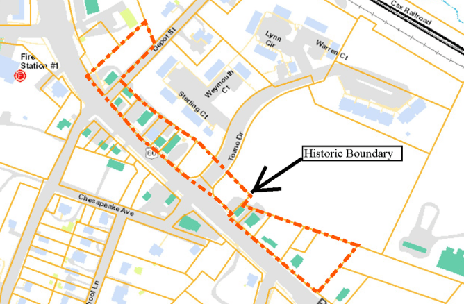 Toano Commercial Historic District boundary map